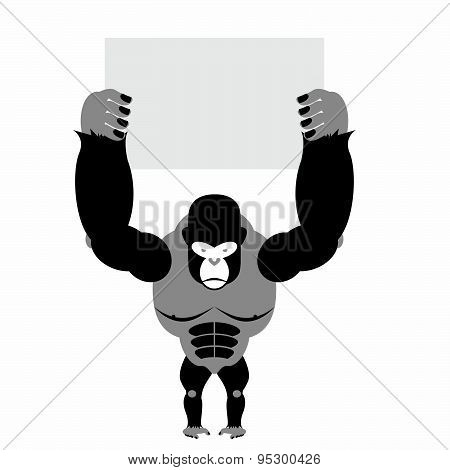Gorilla and banner. Big strong scary monkey. Space for text. Vector illustration of African animal.
