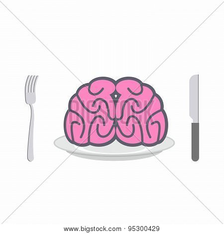 Brain on  plate. Cutlery: knife and fork. Allegory of Food vector illustration. Delicacy for zombies