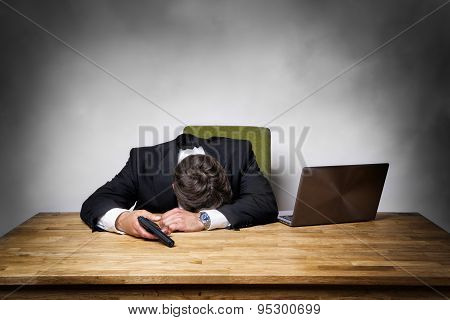 Overworked Businessman With Gun