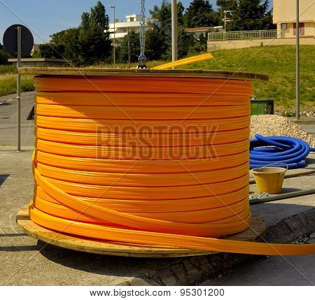 Industrial cable drums of fiber optic cables