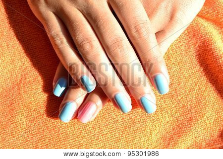 Manicure nail varnish with blue
