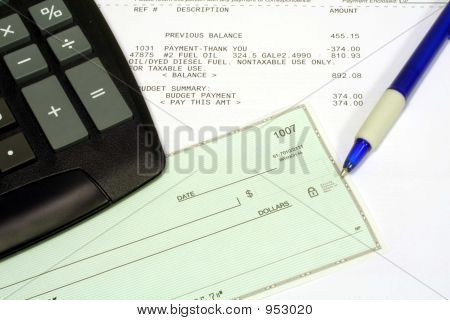 Utility Bill, Personal Check & Calculator