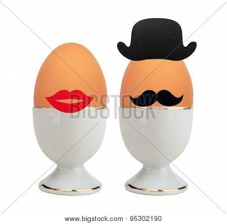 Boiled Eggs In Holder Isolated On White