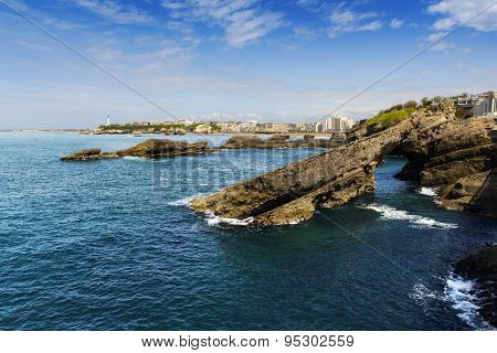 Rocks and lighthouse of Biarritz, France
