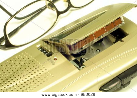 Microcassette Recorder & Glasses