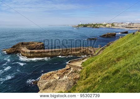 Coast and lighthouse of Biarritz, France
