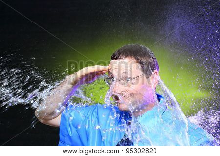showering business man