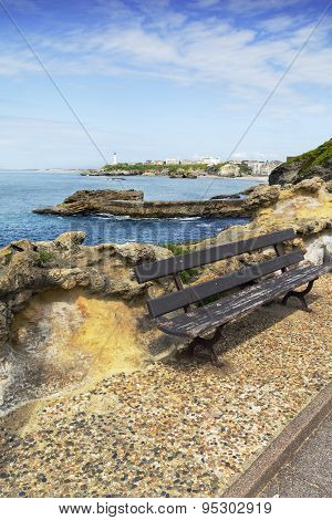 Sit and view of the lighthouse of Biarritz, France