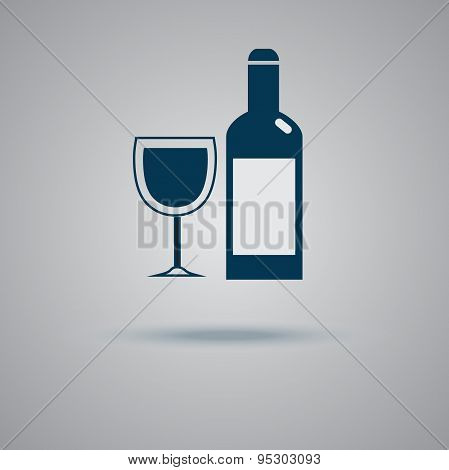 Wine, bottle, glass, icon