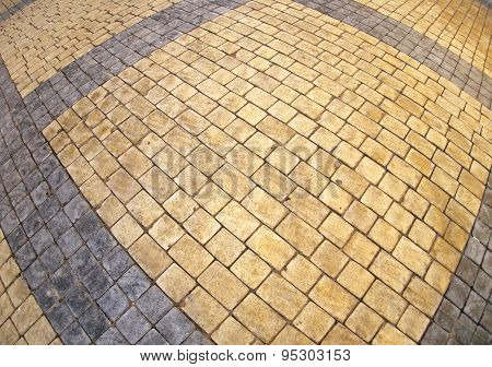 Top View Of The Pavement Of Rectangular Stones