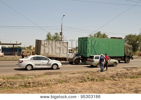 Traffic Accident On The Road Involving Old Commercial Trucks