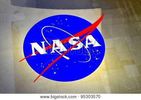 Cape Canavera Florida USA - May 6 2015: NASA insignia printed on the outside of the Space Shuttle ti