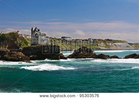 Coast of Biarritz, sea and rocks, Aquitaine, France