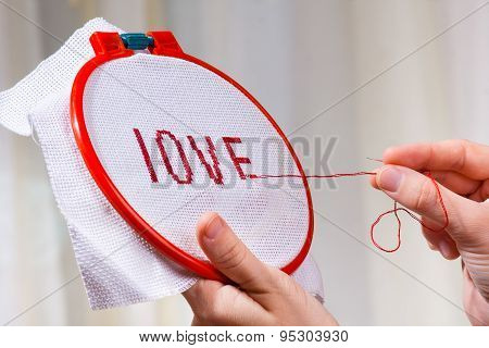 Women's Hands Embroider Cross-stitch A Word Love