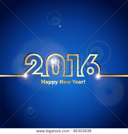 2016 Happy New Year Blue Background With Spot Lights Effect