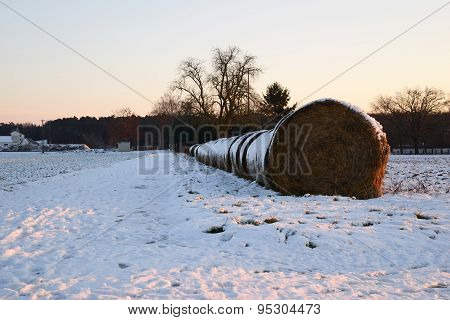 Hay stack in winter