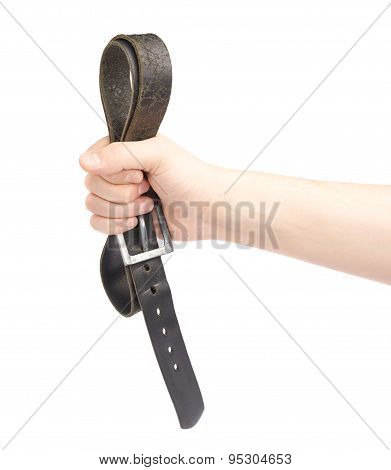 Hand holding black leather belt