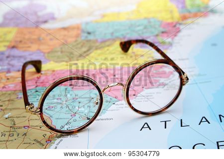 Glasses on a map of USA - South Carolina