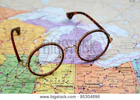 Glasses on a map of USA - Chicago