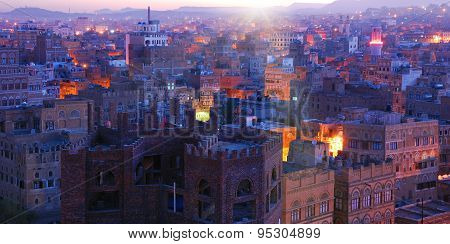 Yemen. Sunrise In The Old City Of Sanaa