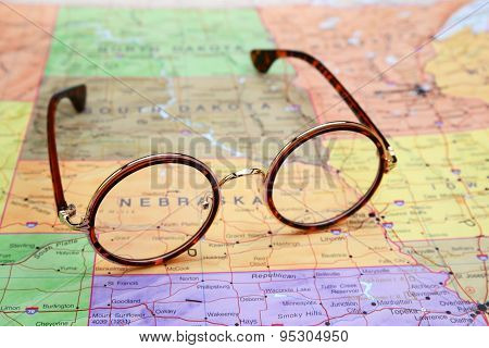 Glasses on a map of USA - Nebraska