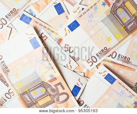 Multuple fifty euro bank notes