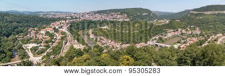 Panorama Of Veliko Tarnovo Taken From Atop Restored Cathedral In Tsarevets Fortress, Bulgaria