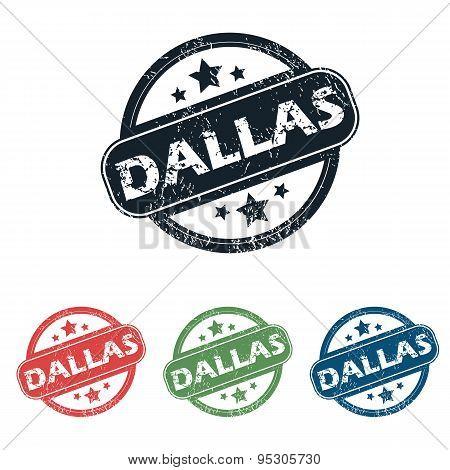 Round Dallas city stamp set