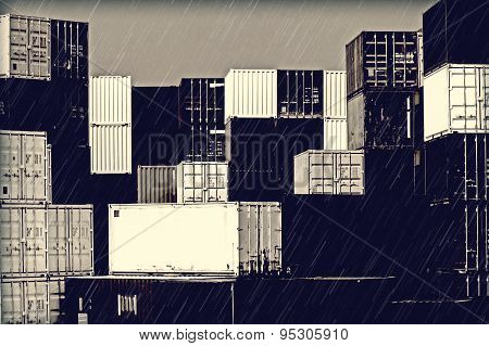 Gloomy Mood In The Harbor - Stack Of Containers In The Rain