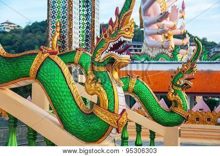 Dragon Sculptures. Famous Wat Plai Laem Temple In Ko Samui