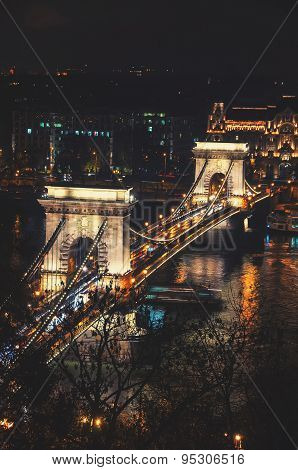 Chain Bridge In Budapest, Hungary At Night