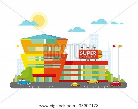 Supermarket Building Facade with Parking in front of it Flat Design.