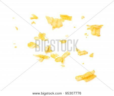 Potato chips crumbs and leftovers isolated