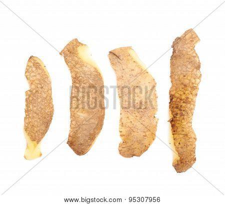 Multiple different potato peels isolated
