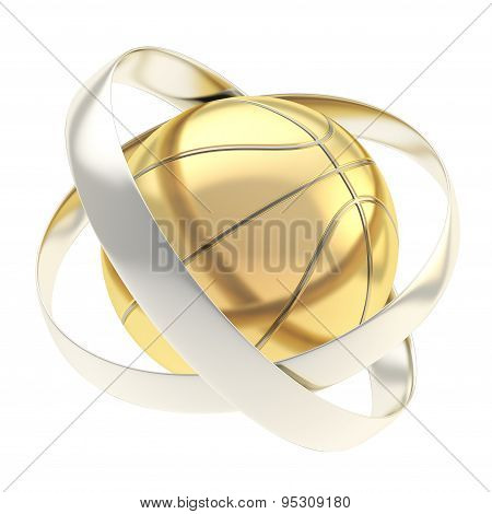 Basketball inside rings abstract composition