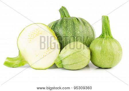 Heap Of Raw Courgettes