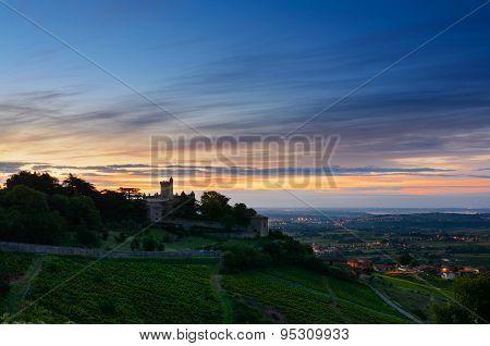 Montmelas Castle At Sunrise Time, Beaujolais, France