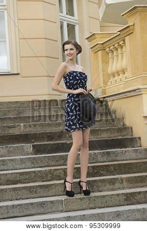 Happy Fashion Girl Outdoor