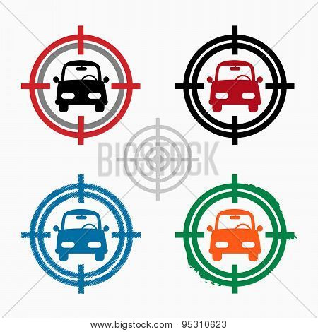 Car On Target Icons Background.