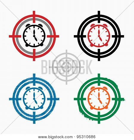 Alarm Clock On Target Icons Background