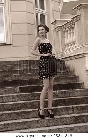 Bw Image Happy Fashion Girl Outdoor