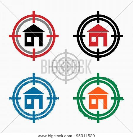 House Sign On Target Icons Background