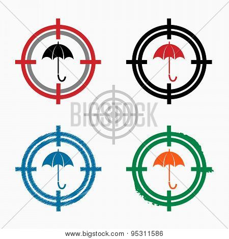 Umbrella Icon On Target Icons Background