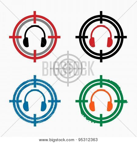 Headphones Icon On Target Icons Background