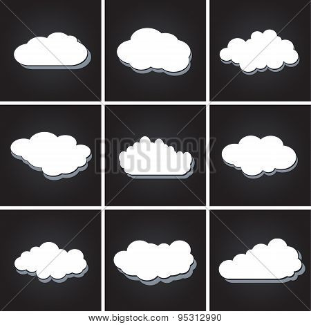 Set of white clouds, speech bubbles vector icons