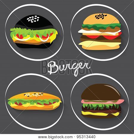 Set of fast food burgers, burritos