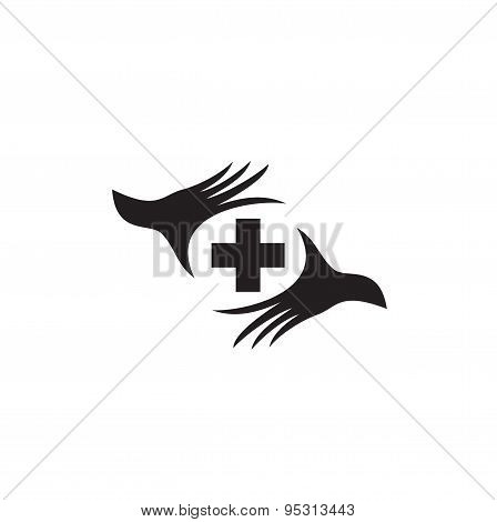 Stylized silhouette of a palm with medical cross.