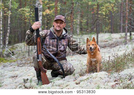 Hunter Stroking His Dog