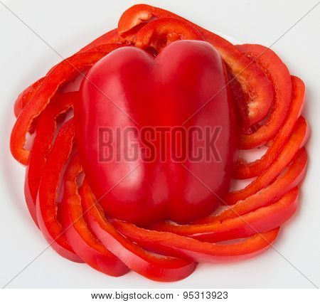 Slices Of Red Bulgarian Pepper