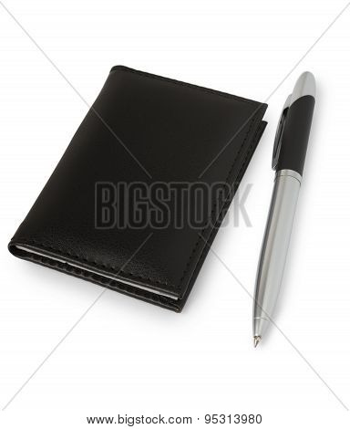 Notebook With Leather Cover And Pen